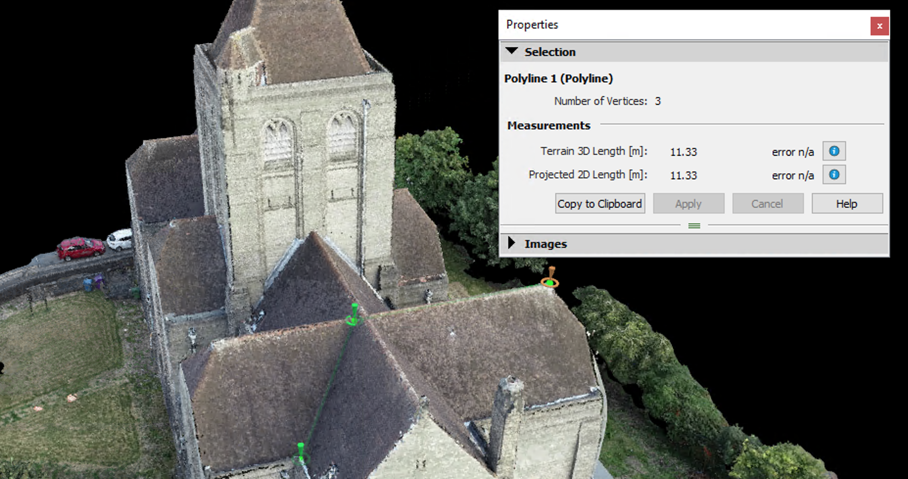 Pix 4D Photogrammetry Measurement of Point Cloud