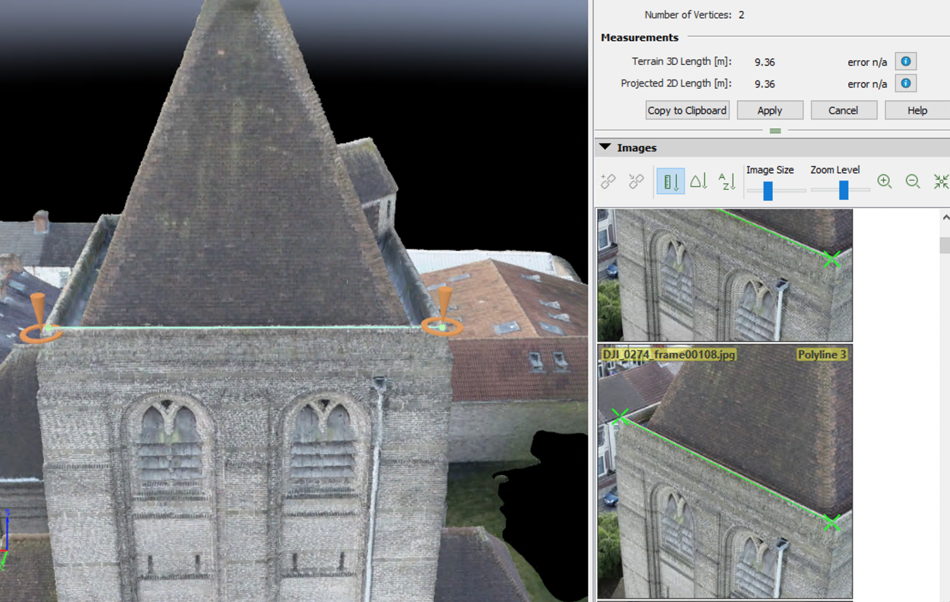 Photogrammetry for measuring purposes