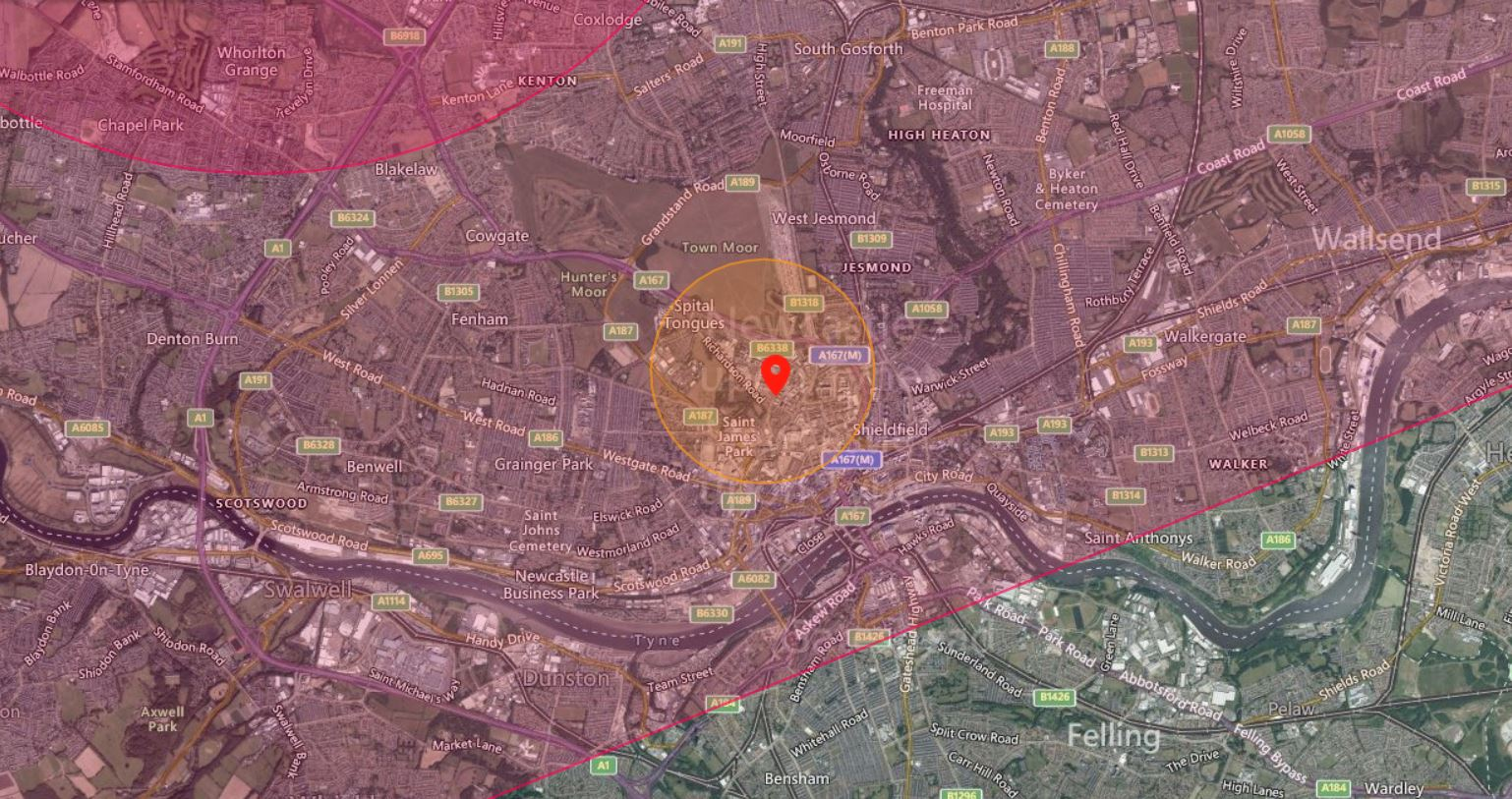 Newcastle Drone Airspace Map