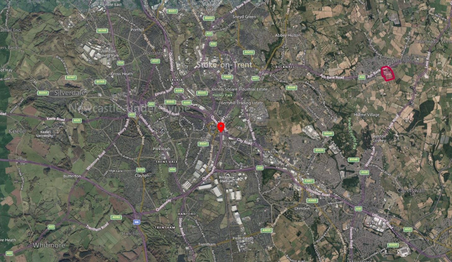 Stoke on Trent Drone Airspace Map