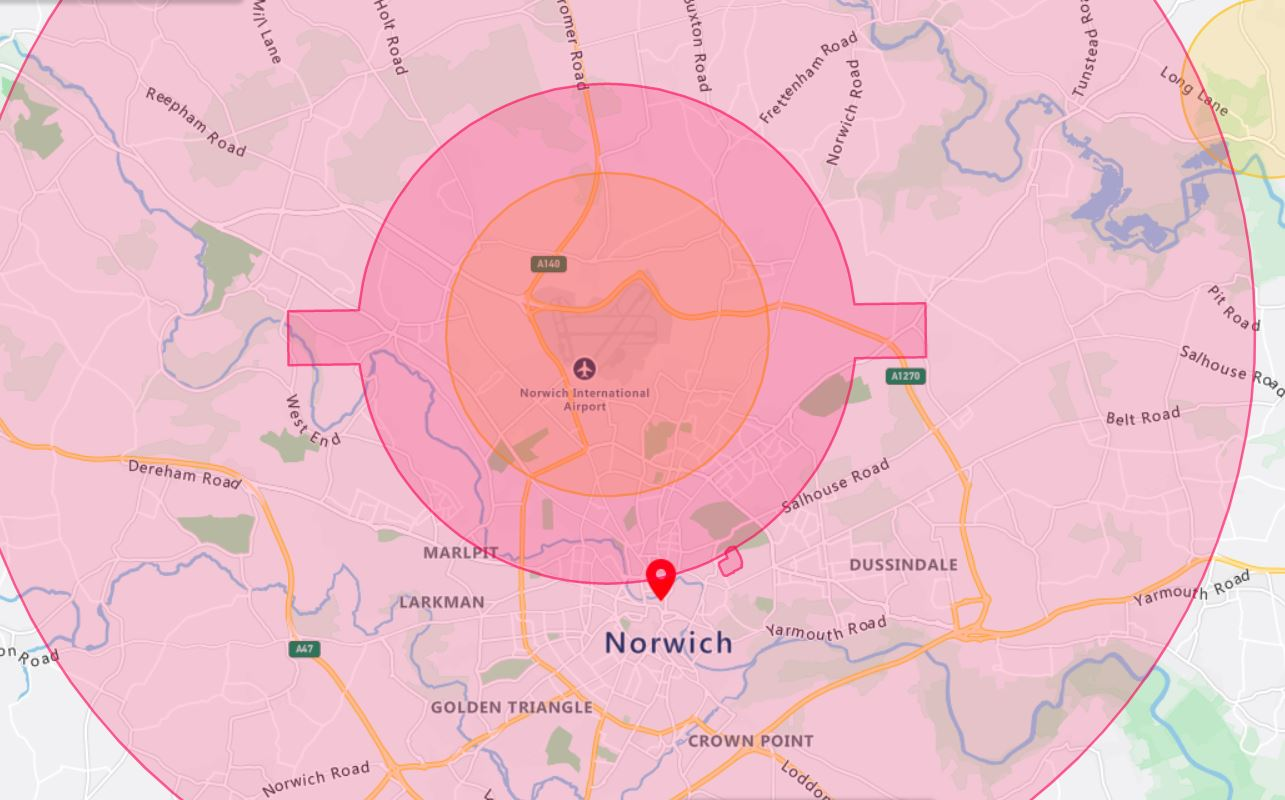 Norwich Drone Airspace Map