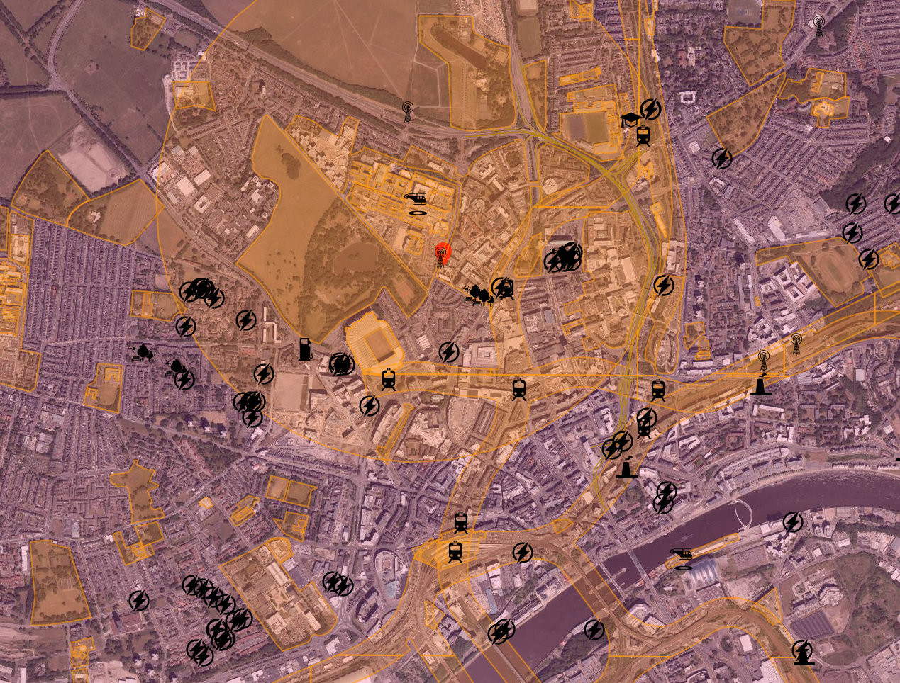 Newcastle Drone Safety Map up close